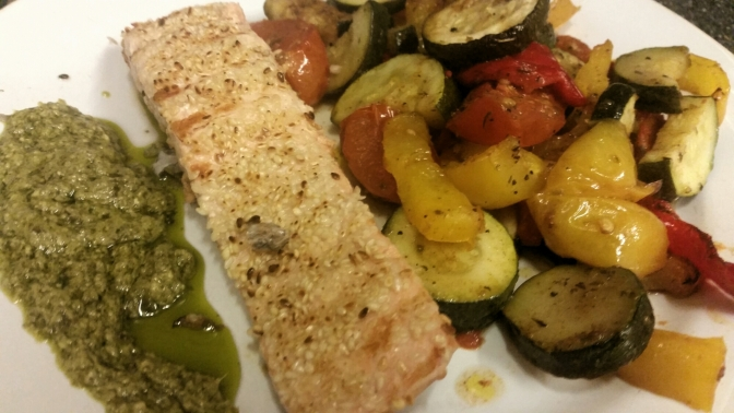 Sesame Salmon and Pesto Vinaigrette